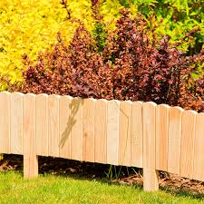 Border For Lawn Edges Or Palisades Natural Color Weatherproof Impregnated Floranica Spiked Roll Boarder As Plug In Fence 203 Cm Long As Wooden Border For Flower Beds Color Natural Height 20 Cm