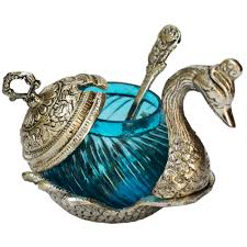 white metal duck shaped bowl ideal for