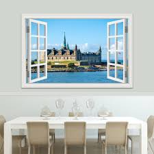 Wall Art European Building Large 3d Window View Sticker Decal Vinyl Mural Wallpaper High Quality Wall Sticker Living Room Decor Aliexpress