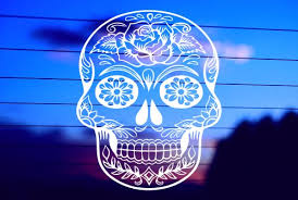 Sugar Skull With Rose Car Decal Sticker