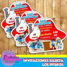 Invitaciones Silueta Los Pitufos Para Imprimir Personalizada Bs