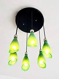 frosted wine bottle lights chandelier