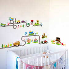 Cartoon Cars Highway Track Wall Stickers For Kids Room Play Room Decoration Growth Chart Pvc Decor Diy Animals Wall Art Decals Wall Stickers Aliexpress