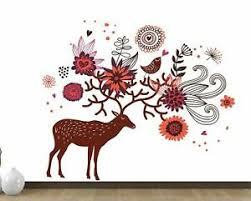 Deer And Flowers Wall Sticker Art Vinyl Decal Mural Home Bedroom Decor Ebay