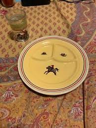 "POLLY WILSON BARN DANDYS KIDS COWBOY WESTERN 9"" DIVIDED PLATE ..."