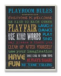 The Kids Room By Stupell Rainbow Chalkboard Playroom Rules Rectangle Wall 11 X X For Sale Online Ebay
