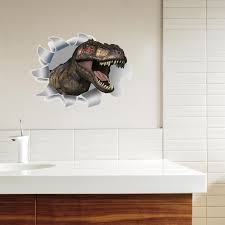 Sk5 Hole View Dinosaur 3d Wall Sticker Bathroom Toilet Kids Room Decoration Wall Decals Sticker Refrigerator Waterproof Poster Wall Stickers Aliexpress