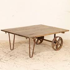coffee table made from old work cart