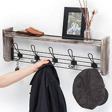 J Jackcube Design Rustic Wall Mounted Coat Rack 5 Hooks Wood Floating Shelf Entryway Hanger For Hat Small Bag Key Farmhouse Goals