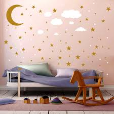 Matt Black White Gold Five Pointed Star And Moon Creative Wall Stickers For Kids Room Wall Decorations Living Room Pvc Stickers Wall Stickers Aliexpress