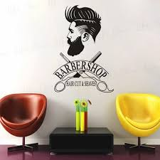 Barber Shop Window Decal Hipster Man Wall Sticker Hair Salon Scissors Murals Shave And Haircut Logo Wall Window Poster Wish
