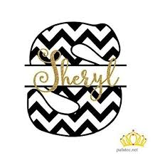 Glitter Chevron Monogram Initial With Name Vinyl Decal Sticker For Yeti Cup Tumbler Car Or Laptop