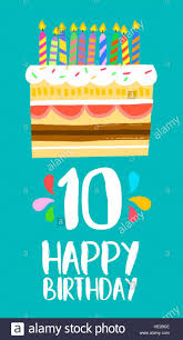 Feliz Cumpleanos Numero 10 Tarjeta De Felicitacion Para Diez Anos