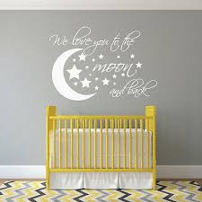 Wall Decal Moon And Stars I We Love You To The Moon And Back Nursery Girl Nursery Wall Nursery Wall Decals Girl Nursery Wall Decals