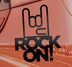 Rock On Car Symbol Sticker Tenstickers