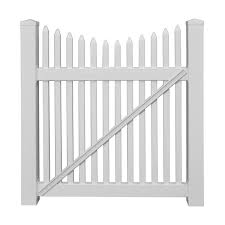 Weatherables Barrington 4 Ft W X 5 Ft H White Vinyl Picket Fence Gate Kit Swpi 1 5nrsc 5x48 The Home Depot