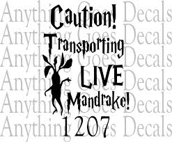 Caution Transporting Live Mandrake Decal 1207 Anything Goes Decals