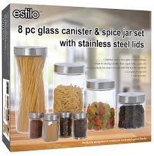 glass canisters and spice jar set