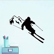 Amazon Com Fsds Wall Vinyl Decal Extreme Sports Decal Skier Skiing Stickers Kids Rooms Ski Sport Boys Bedroom Decor Art Mural Removable Home Kitchen