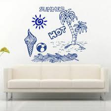 Wall Decal Summer Hot Recreation Ocean Sea Beach Sun Palm Ball Ice Cream M711 Ebay