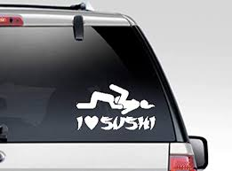 Amazon Com Artstickerscool Sexy Decal I Love Sushi Decal I Eat Pussy Decal Stripper Decal Strip Club Decor Car Decal Man Cave Decal 3 Some Ffm Home Kitchen