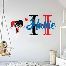 Custom Name Initial Harley Quinn Wall Decal Egraphicstore