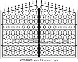 Wrought Iron Gate Door Fence Window Grill Railing Design Clip Art K23094689 Fotosearch