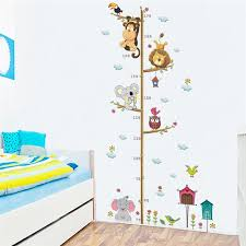 Jungle Animals Lion Monkey Owl Height Measure Wall Sticker For Kids Rooms Growth Chart Nursery Room Decor Wall Decals Art Wall Stickers Aliexpress