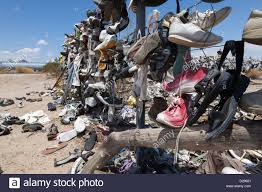 A Shoe Fence On Ca 62 Near Rice West Of Vidal Junction California Stock Photo Alamy