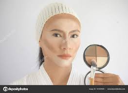 contouring makeup asian woman face