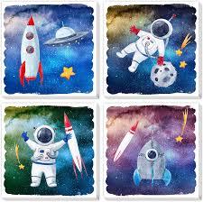 Amazon Com Texture Of Dreams Cartoon Astronaut Rocket Stars Ufo In Outer Space Travel Canvas Wall Art Boy Room Science Theme Nursery Wall Decor Poster Kid Bedroom Playroom Dorm Classroom 4 Pack 10