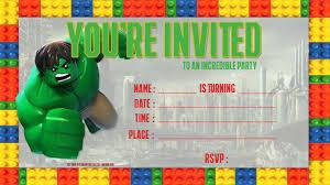 Free Lego Hulk Birthday Invitation Template Fiesta De Legos