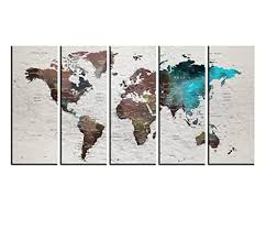 Amazon Com Pish Pin World Map Wall Art Canvas For Traveler For Home Decor Canvas Print Set 5 Pieces Push Pin World Travel Map Print Wall Decal For Kids Room Framed Large Watercolor