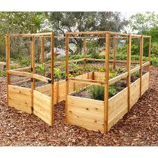 8 Ft X 12 Ft Cedar Raised Garden Bed With Deer Fence