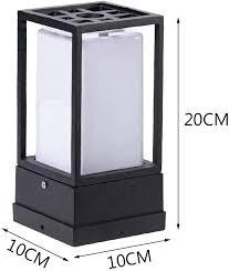Modern E27 Column Lamp Black Aluminum And Acrylic Shade Square Design Outdoor Pedestal Lights For Garden Balcony Terrace Fence Entrance Lighting 10 10 20cm Amazon Co Uk Lighting