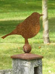 Rusty Robin Fence Topper Fence Toppers Fence Post Caps Garden Whimsy