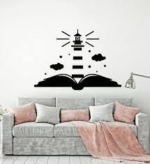 Vinyl Wall Decal Lighthouse Book Kids Room School Decor Stickers Mural Wallstickers4you
