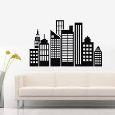 Amazon Com N Sunforest City Wall Decal City Scape Wall Stickers Adhesive Removable Wall Art Decorative For Home Livingroom Bedroom 27 5 X39 Home Kitchen