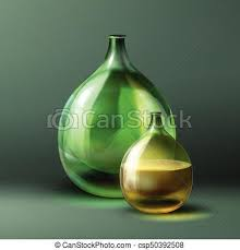 vector round bottle of green color