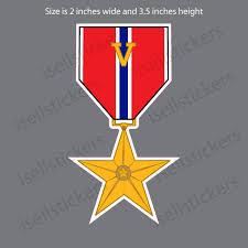 Mini Bronze Star Medal V Device Bumper Sticker Car Window Decal