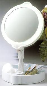 folding lighted cosmetic mirror