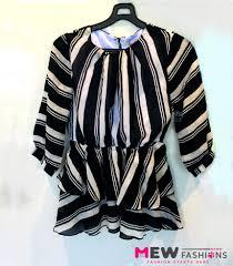 stylish black white short top mew