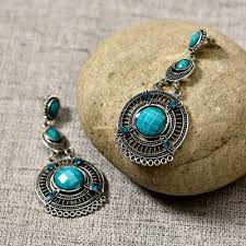 silver oxidised sky blue stone earrings