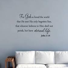 Vwaq For God So Loved The World Wall Decal Quote Religious Bible Verse John 3 16 Scripture Christian Wall Art Sticker Walmart Com Walmart Com