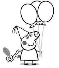 Peppa Pig Birthday Coloring Page In 2020 Peppa Pig Papieren Bloemen