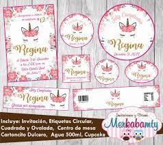 Invitacion De Cumpleanos Unicornio Kit Imprimelo Tu 69 00 En Mercado Libre