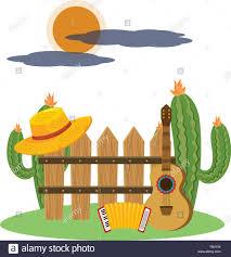 Music Instruements Guitar With Accordion Outdoor Scene Cartoon Vector Illustration Graphic Design Stock Vector Image Art Alamy