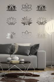 Lotus Flowers Wall Decal Reflective Mirror Wall Decals