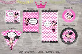 Kit Impreso Minnie Roja Invitaciones Banderin Cartel Sticker