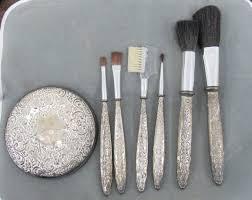 7pc silver plate make up brush set w